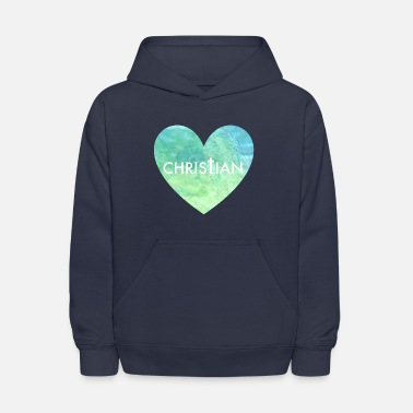 Christianity Christian Heart in Blue - Kids' Hoodie