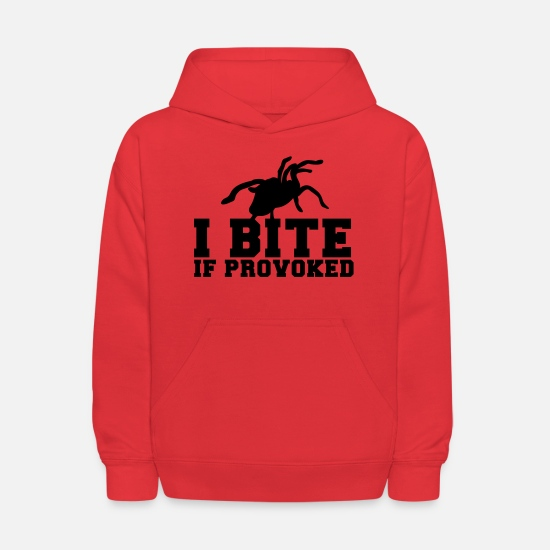 Provoke Hoodies & Sweatshirts - I BITE! if provoked! creepy spider scary! - Kids' Hoodie red