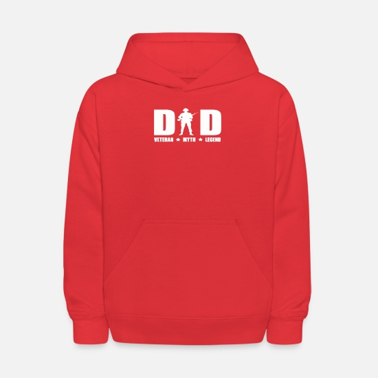 Legend Hoodies & Sweatshirts - Dad Veteran Myth Legend T Shirt Proud Veteran Dad - Kids' Hoodie red