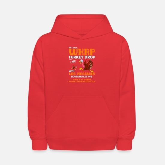 Fundraiser Hoodies & Sweatshirts - First annual WKRP Turkey Drop with Les Nessman - Kids' Hoodie red