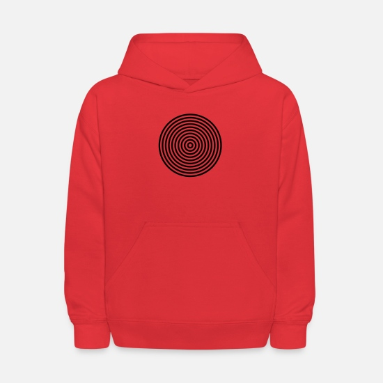 Ring Hoodies & Sweatshirts - 10 concentric circles in black white - Kids' Hoodie red
