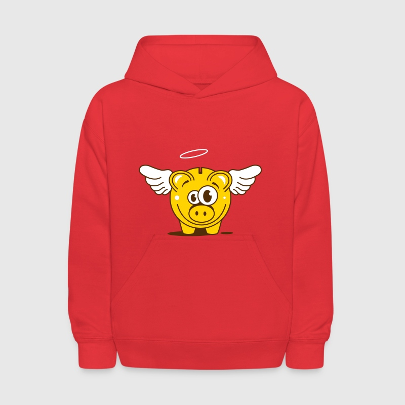 A funny piggy bank with wings  - Kids' Hoodie
