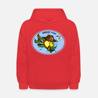 Fins Up Sheriff Fish Fabspark Sparky, clear image with tex - Kids' Hoodie