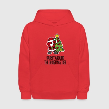 Dabbin' around the Christmas tree - Text - Kids' Hoodie