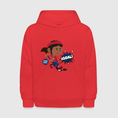 American girl playing hockey scoring goal Blue Red - Kids' Hoodie