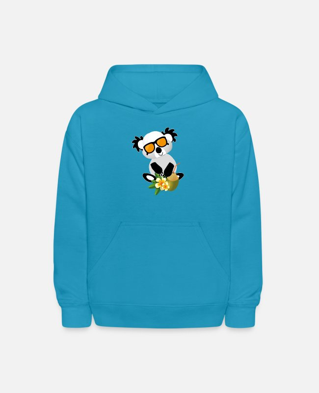 Holiday Island Hoodies & Sweatshirts - Panda with coconut and sunglasses perfect holiday - Kids' Hoodie turquoise