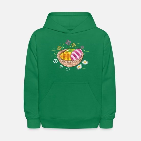Love Hoodies & Sweatshirts - Happy Easter Basket Eggs Daisies Spring Flowers - Kids' Hoodie kelly green