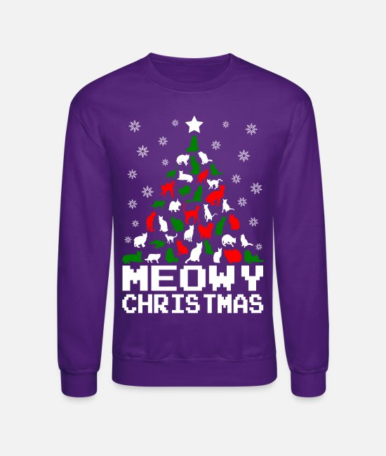 Cat Christmas Hoodies & Sweatshirts - Meowy Christmas Cat Tree Ugly - Unisex Crewneck Sweatshirt purple