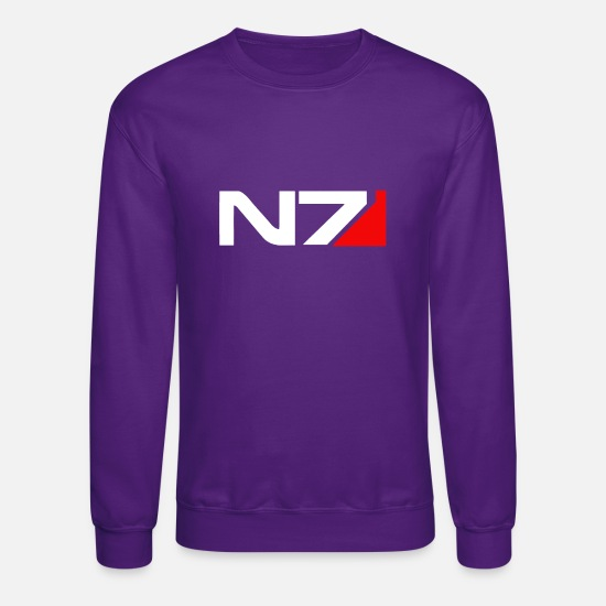 Mass Hoodies & Sweatshirts - Mass Effect N7 - Unisex Crewneck Sweatshirt purple