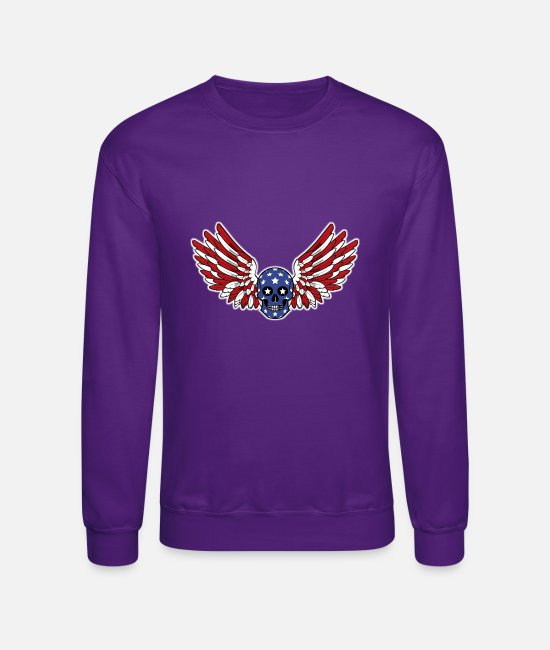 Celebrate July 4th Hoodies & Sweatshirts - Independence Day 4th July USA Skull and Wings Flag - Unisex Crewneck Sweatshirt purple
