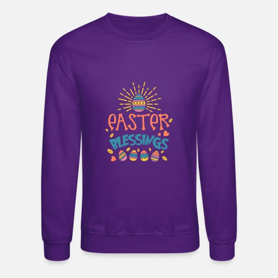 Easter Hoodies & Sweatshirts - easter blessings - Unisex Crewneck Sweatshirt purple