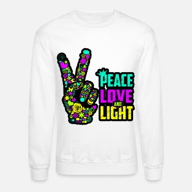 Colorcontest Peace Love Light Hand Neon Blacklight Trendy Trend - Unisex Crewneck Sweatshirt