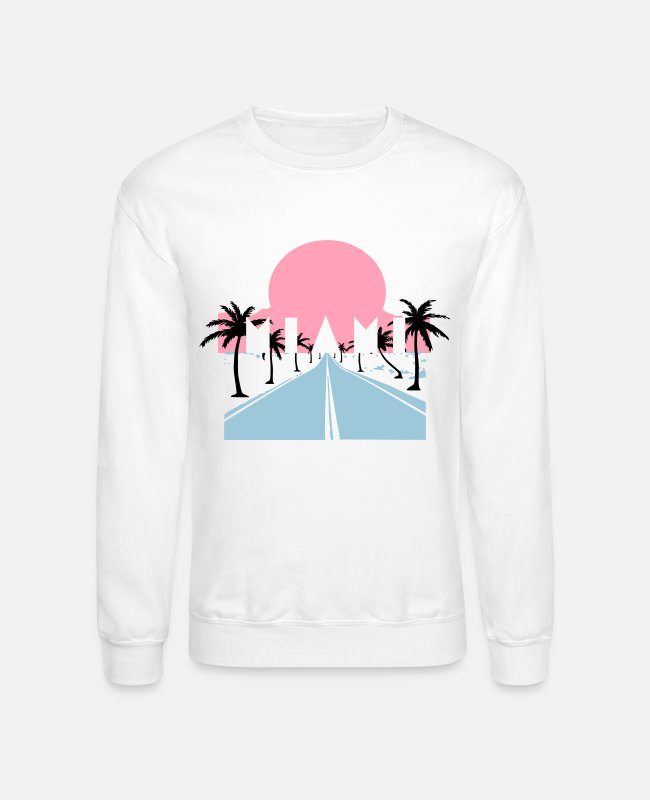 Beach Hoodies & Sweatshirts - Miami 80´s Style - Unisex Crewneck Sweatshirt white