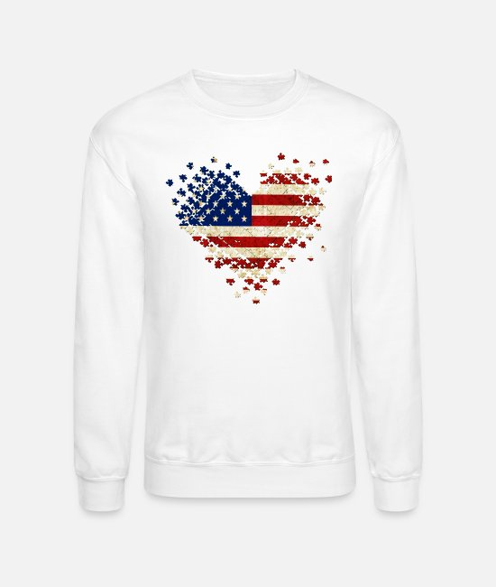 Puzzle Pieces Hoodies & Sweatshirts - Autism Heart Flag - Unisex Crewneck Sweatshirt white