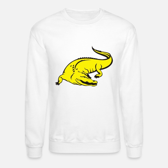 Yellow Hoodies & Sweatshirts - yellow crocodile - Unisex Crewneck Sweatshirt white