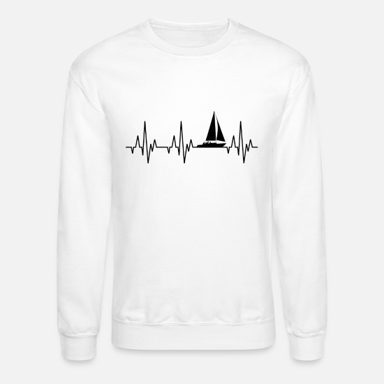 Heartbeat Hoodies & Sweatshirts - Heartbeat Sailing Sailboat Water Sports - Unisex Crewneck Sweatshirt white