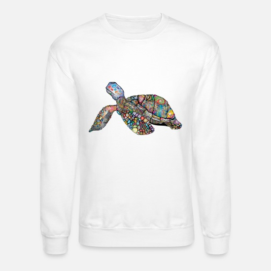 Turtle Hoodies & Sweatshirts - beautiful colorful sea turtle decorated t-shirt - Unisex Crewneck Sweatshirt white