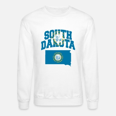 South South Dakota Flag Map - Unisex Crewneck Sweatshirt