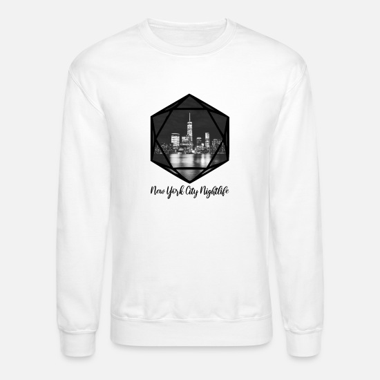 New World Order Hoodies & Sweatshirts - New York City Nightlife (b) - Unisex Crewneck Sweatshirt white