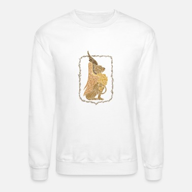 Floral Wreath Mythical griffon in a floral wreath - Unisex Crewneck Sweatshirt