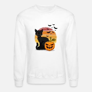 Cat and pumpkin Halloween T Shirt Design - Unisex Crewneck Sweatshirt