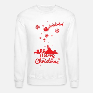 Scene Merry christmas, a scene of a small village - Unisex Crewneck Sweatshirt