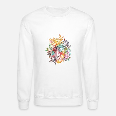 Heart With Flowers Anatomical heart with flowers - Unisex Crewneck Sweatshirt