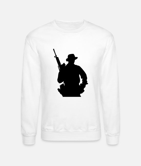 Jaws Hoodies & Sweatshirts - Army Ranger, Soldier, Mercenary - Unisex Crewneck Sweatshirt white