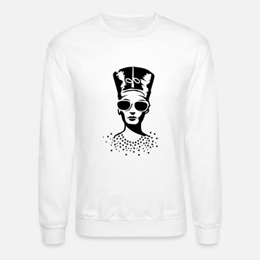 Wearing Sunglasses A woman wearing sunglasses with Nefertiti hat - Unisex Crewneck Sweatshirt
