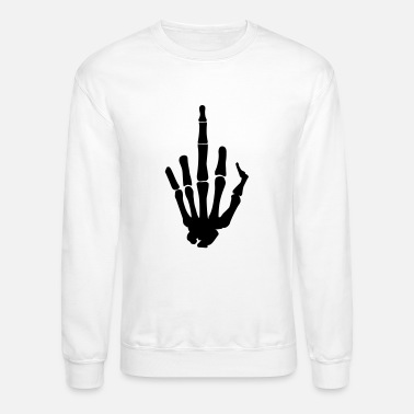 Finger Skeleton Finger, Middle Finger - Unisex Crewneck Sweatshirt