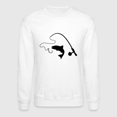 Fishing rod and fish, fishing - Crewneck Sweatshirt