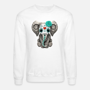 Day Of The Dead Blue Sugar Skull Elephant - Crewneck Sweatshirt