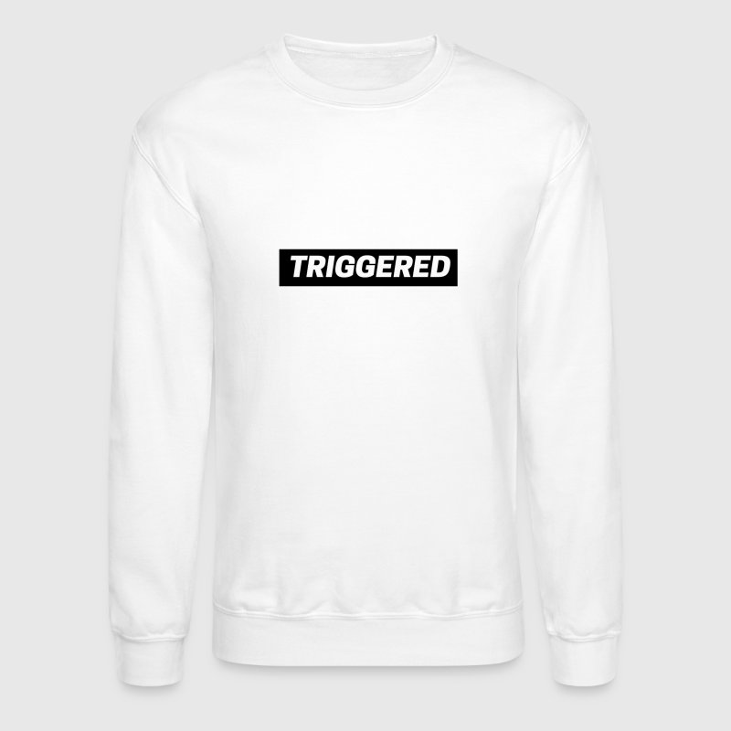 Black Triggered Logo on White Sweatshirt - Crewneck Sweatshirt