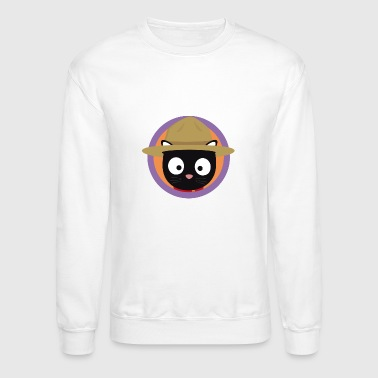 Park ranger cat in purple circle - Crewneck Sweatshirt