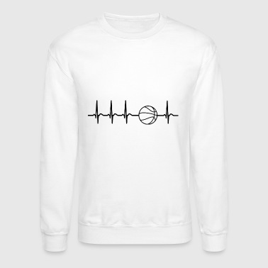 Heartbeat basketball fan player coach gift cool - Crewneck Sweatshirt