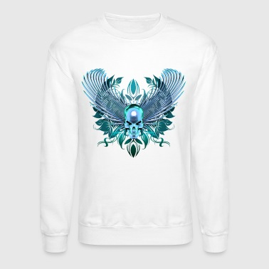 cyan winged chrome skull - Crewneck Sweatshirt