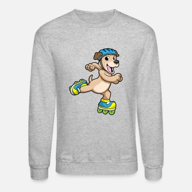 School Dog as Inline Skater with Inline Skates and Helmet - Unisex Crewneck Sweatshirt