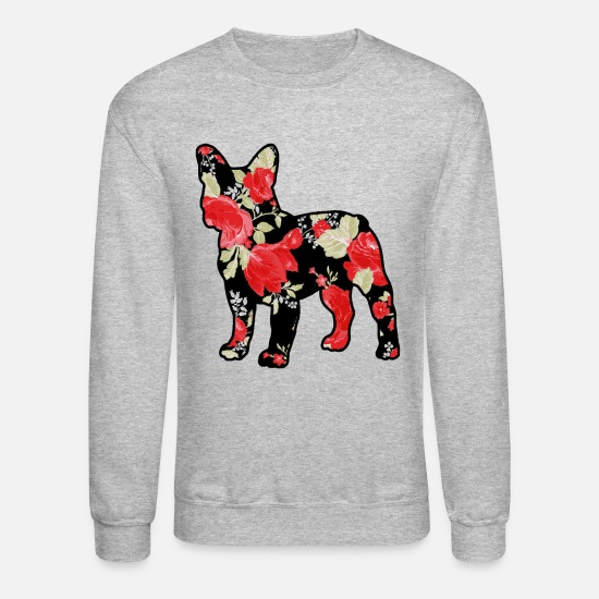 Bulldog Hoodies & Sweatshirts - French Bulldog Shirt - French Bulldog Rose T shirt - Unisex Crewneck Sweatshirt heather gray