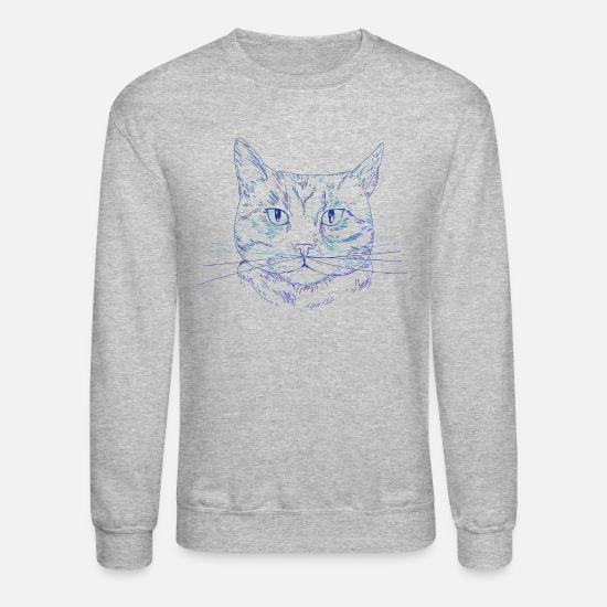Gift Idea Hoodies & Sweatshirts - Cat - Unisex Crewneck Sweatshirt heather gray