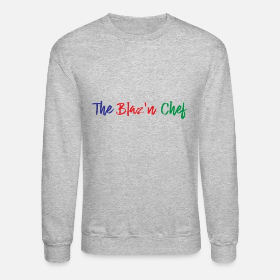 Medicine Hoodies & Sweatshirts - The Blaz 'n Chef text Blue Red Green - Unisex Crewneck Sweatshirt heather gray