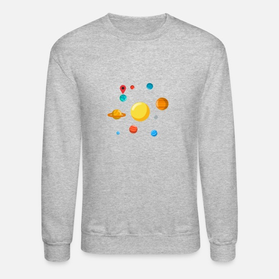 Pluto Hoodies & Sweatshirts - You Are Here Navigation Earth Solar System Gift - Unisex Crewneck Sweatshirt heather gray