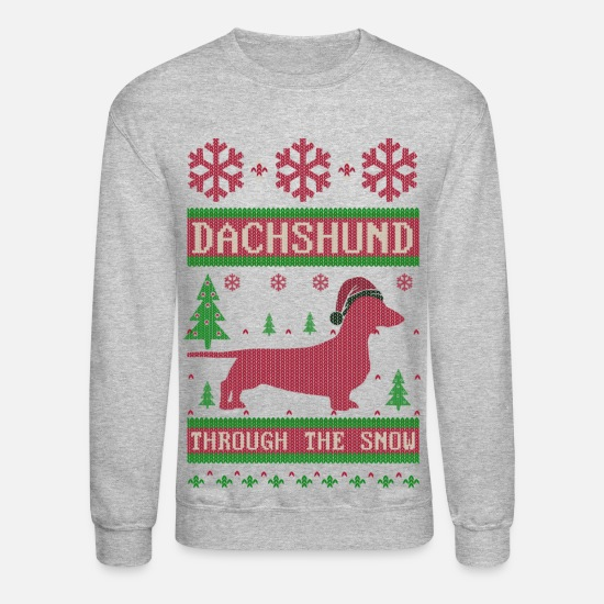 Ugly Hoodies & Sweatshirts - Dachshund Through Snow - Unisex Crewneck Sweatshirt heather gray