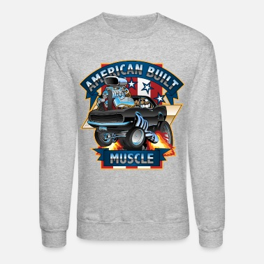 Muscle Car American Built Muscle - Classic Muscle Car Cartoon - Unisex Crewneck Sweatshirt