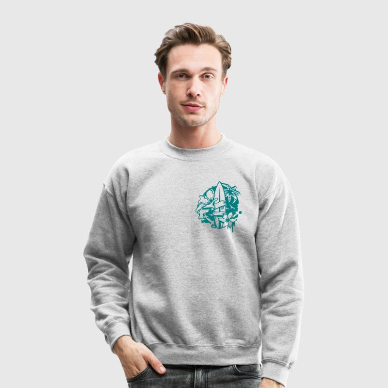 Surfboard with two flowers and a palm tree - Crewneck Sweatshirt