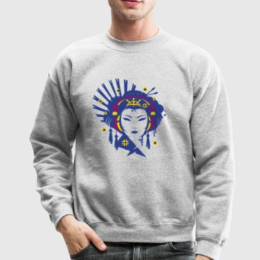 A Japanese geisha girl with headphones - Crewneck Sweatshirt