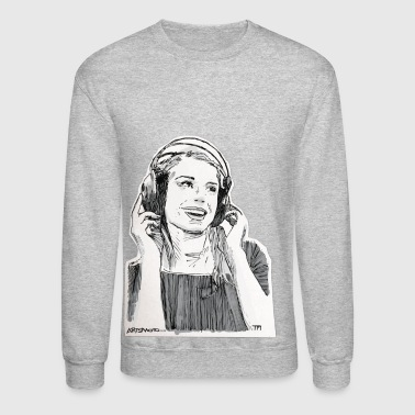Girl Headphone Sketch - Crewneck Sweatshirt