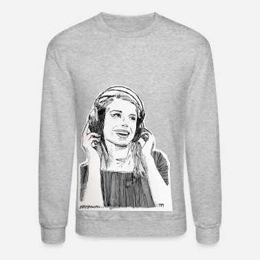 Sketch Girl Headphone Sketch - Crewneck Sweatshirt