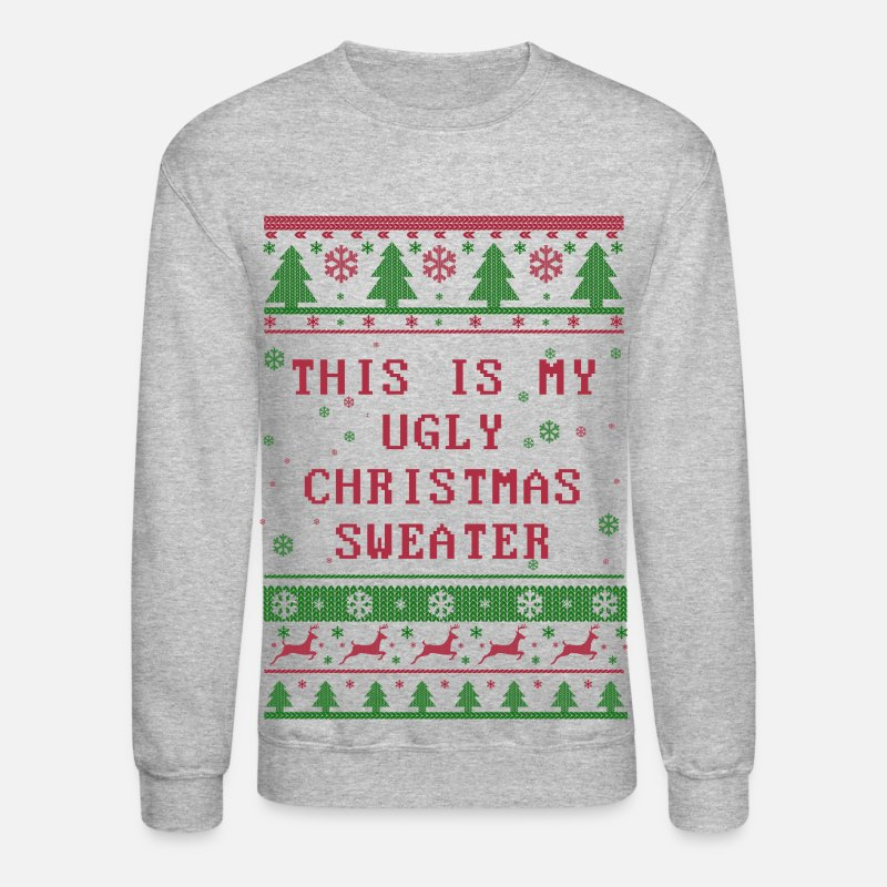 Christmas Hoodies & Sweatshirts - Ugly Christmas Sweater - Unisex Crewneck Sweatshirt heather gray
