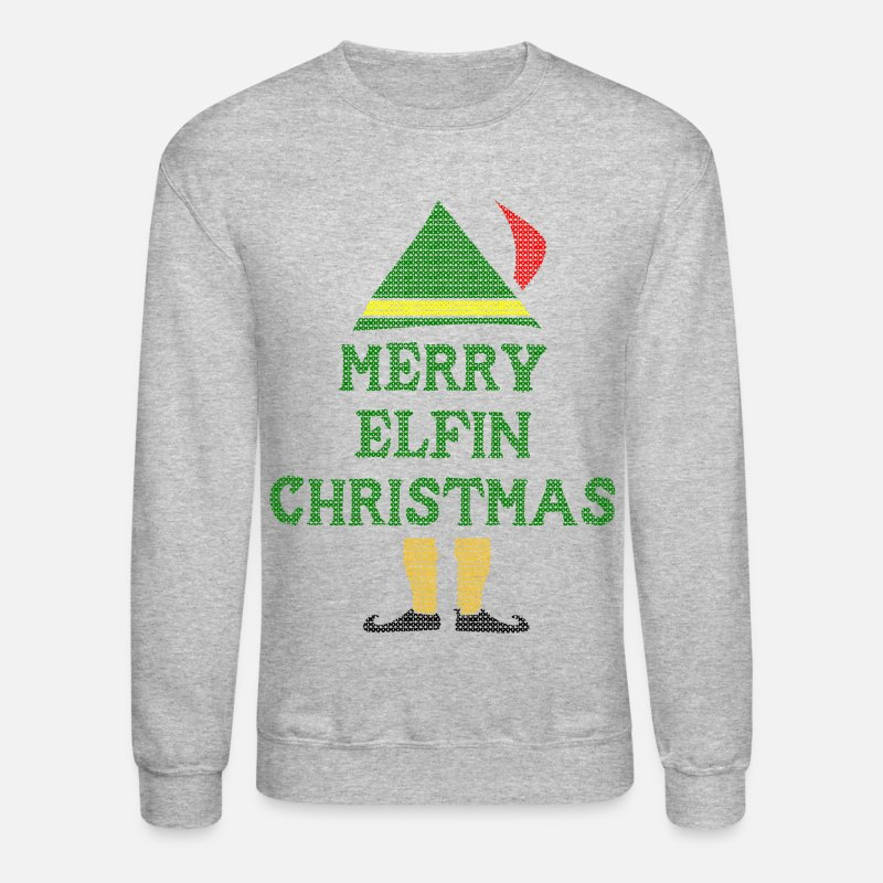 Christmas Hoodies & Sweatshirts - Merry Elfin Christmas - Unisex Crewneck Sweatshirt heather gray