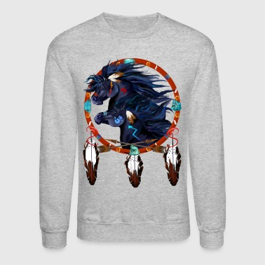 American Indian Two Black Horses Mandala  - Crewneck Sweatshirt